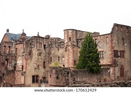 The autumn view of Heidelberg castle in Germany  - stock photo