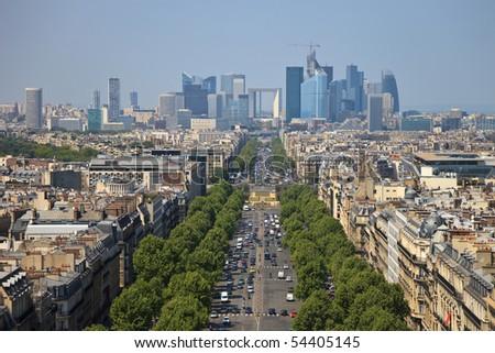 The Avenue Charles de Gaulle and La Defense, Paris. - stock photo
