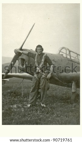 the aviator - photo scan - about 1955 - stock photo