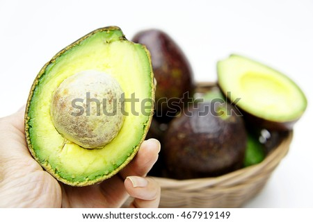 The Avocado on white background , Fruits rich in vitamin E  is good for health.