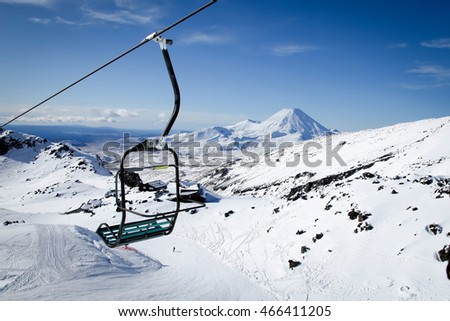 The awesome snow capped volcano Mt Ngauruhoe from Mt Ruapehu Whakapapa Ski Field Chair Lift New Zealand