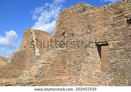 The Aztec Ruins National Monument preserves ancestral Pueblo structures in north-western New Mexico, United States - stock photo