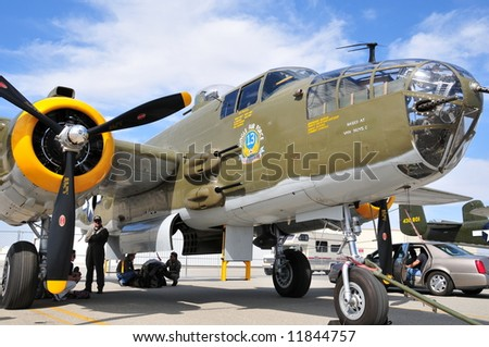 The B-25 Mitchell bomber on display at a California air show - stock photo