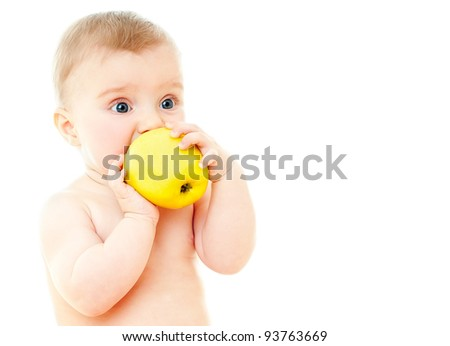 The babe with fresh fruit, isolated on the white - stock photo