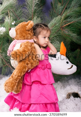 The baby bears, soft toys on snow