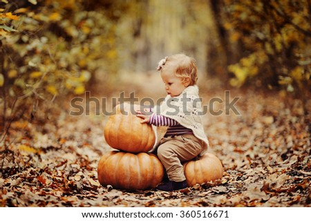 the baby plays in the autumn wood with pumpkins