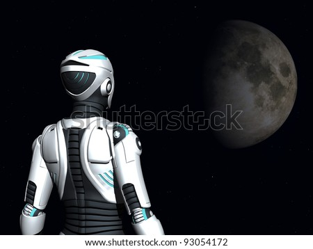 The back of an android woman, gazing out in space. Stars and a planet in the background. - stock photo