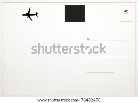 The back of an old postcard with air-mail symbol and blank space for text. - stock photo