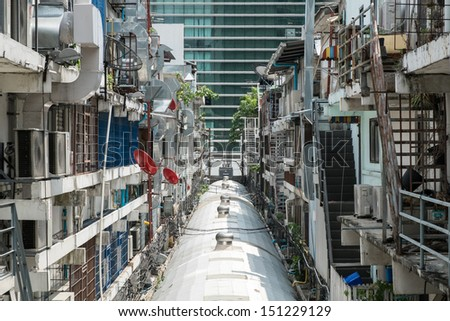 The back of crowded buildings in bangkok