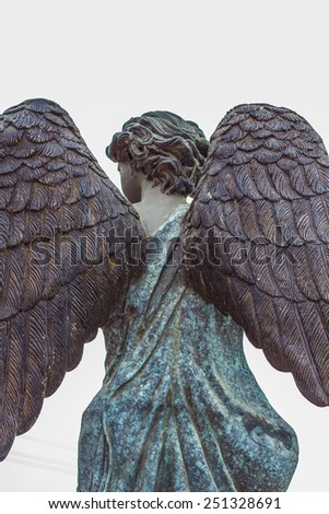 The back of the angel statue - stock photo