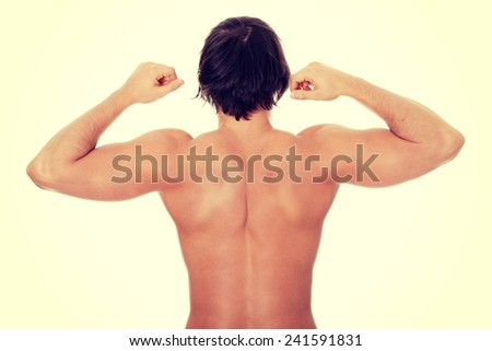 The back of young man. - stock photo