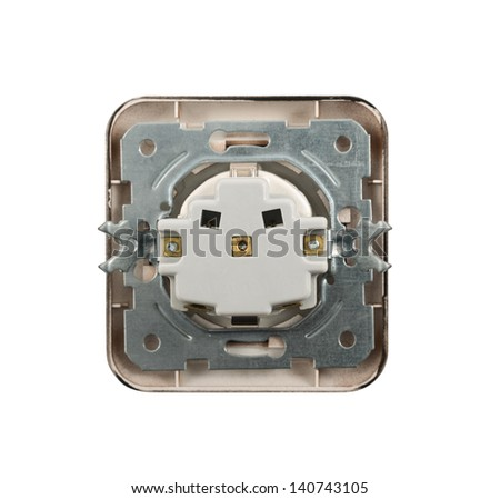 The back side of electrical socket isolated over white background - stock photo