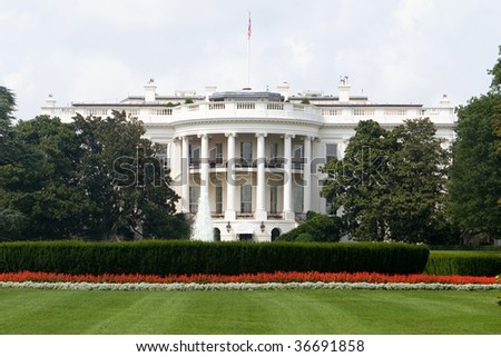 The Back Side of the White House in Washington DC - stock photo