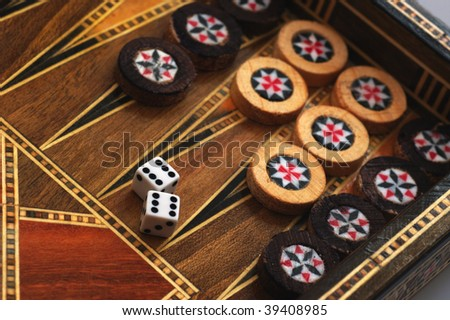 The backgammon and dice with six double - stock photo