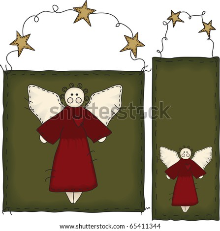 The background banners and angels are grouped individually.  File contains simple 10-step blends and linear gradients. - stock photo