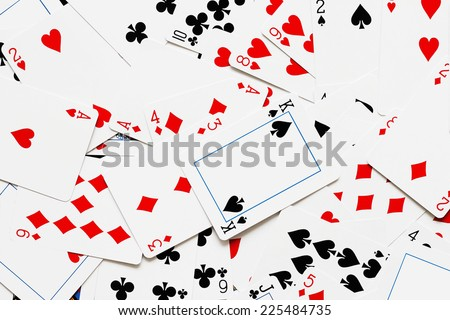 The background image of playing cards multiple numbers - stock photo