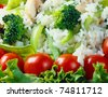 The background of fresh vegetables with figure - stock photo