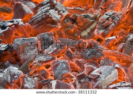 The background of smoldering coal - stock photo