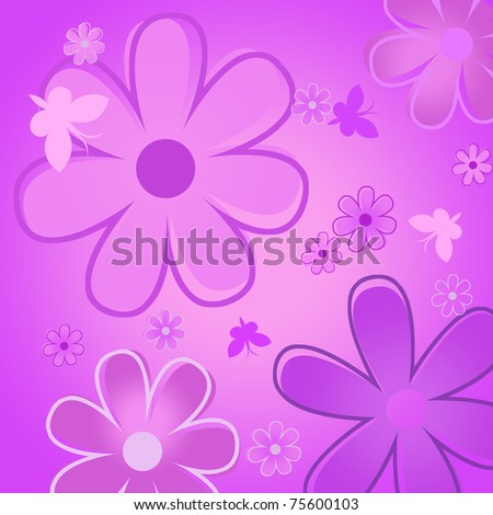 The background of the flowers and butterflies, flower collage - stock photo