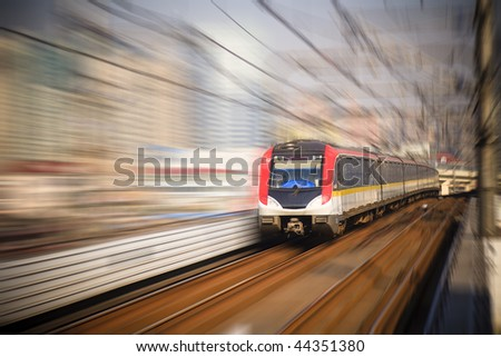the background of the high-speed train with motion blur outdoor.