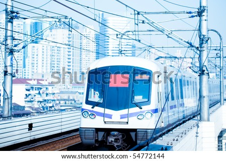 the background of the high-speed train with motion blur outdoor. - stock photo