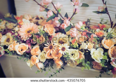 The background of the vintage beautiful flowers in colorful, vintage color - stock photo