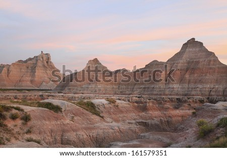 The Badlands National Park at Sunset, South Dakota - stock photo