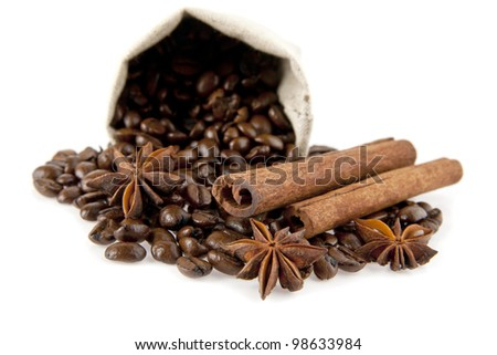 the bag of coffee on a white background