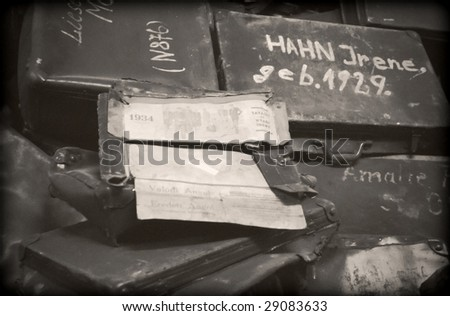 The bags of jewish victims in Auschwitz - stock photo