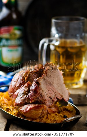 the baked pork gammon with sauerkraut and beer