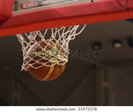 The ball flies out of the basket - stock photo