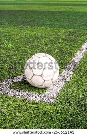 The ball is prepared for corner kick. Corner kick. - stock photo