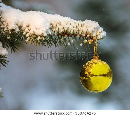 The ball on snowy Christmas tree branch - stock photo