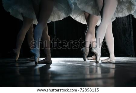 The ballerina during dance execution. - stock photo