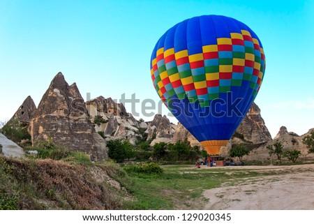 The balloon at the start in Cappadocia, Turkey - stock photo