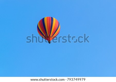 The balloon is rising in the evening in Vang Vieng, Laos with clipping path