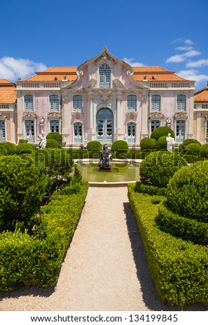The Ballroom wing of Queluz National Palace, in the municipality of Sintra, Lisbon district, Portugal - stock photo