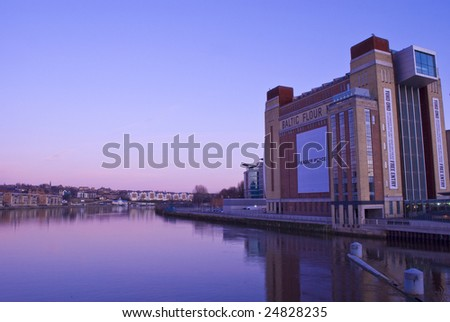 The Baltic flour mill during a winters sunset from the Millennium Eye