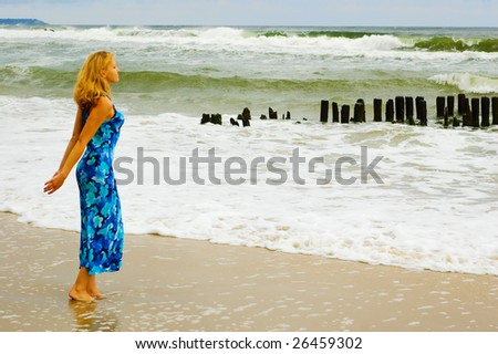 The Baltic Sea is calling me in the storm - stock photo