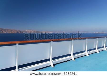 The balustrade of a cruise ship - stock photo