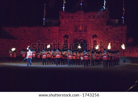 The band of the Scots Guards at Edinburgh Military Tattoo 2006 - stock photo
