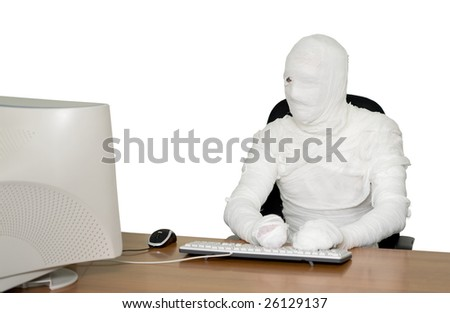 The bandaged boss in office on black - stock photo