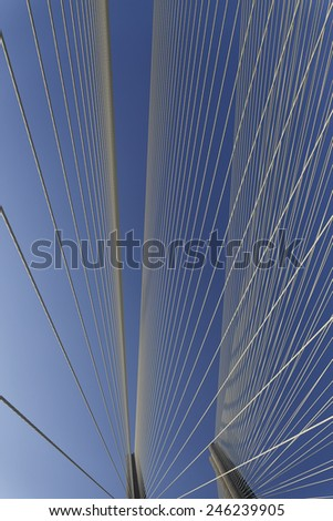 The Bandra Worli Sea Link officially called Rajiv Gandhi Sea Link is a cable-stayed bridge that links Bandra in the Western Suburbs of Mumbai with Worli in South Mumbai - stock photo