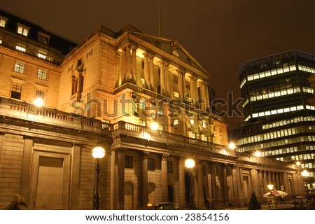 The Bank of England building in the City of London, England at night