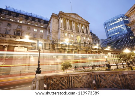 The Bank of England, City of London, UK, at night - stock photo