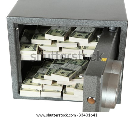 The bank safe full of dollar - stock photo