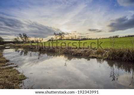 The banks of a river, with bushes and trees. Trees, fields and clouds in the sky. The Worcester and Birmingham canal, Oddingley, Worcestershire, England, UK  - stock photo
