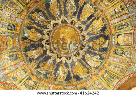 the baptism of christ portrayed on a UNESCO listed sixth century ceiling - stock photo