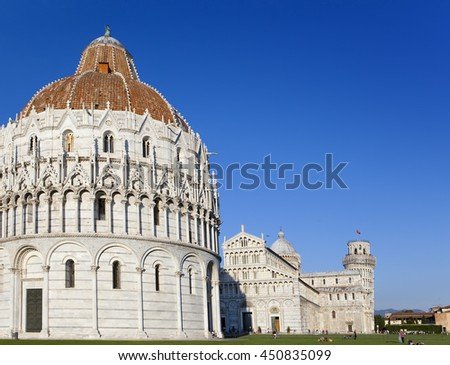 The Baptistry and the Leaning Tower in Cathedral Square in Pisa, Italy