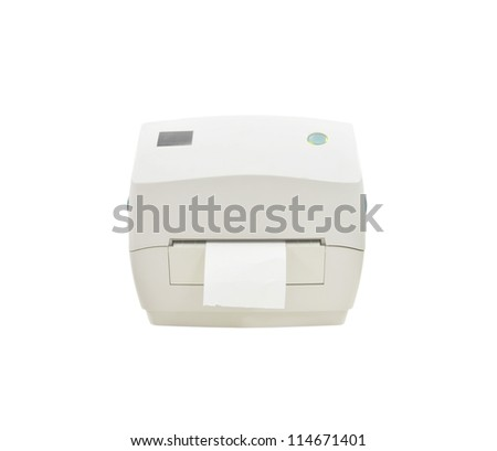 The bar code printer isolate on white background - stock photo